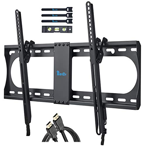 RENTLIV Supporto TV Inclinabile - Supporto da Parete per TV da 37-70', Max VESA 600x400, Staffa Ultra Resistente 60kg con livella a bolla, Cavo HDMI e Fascette