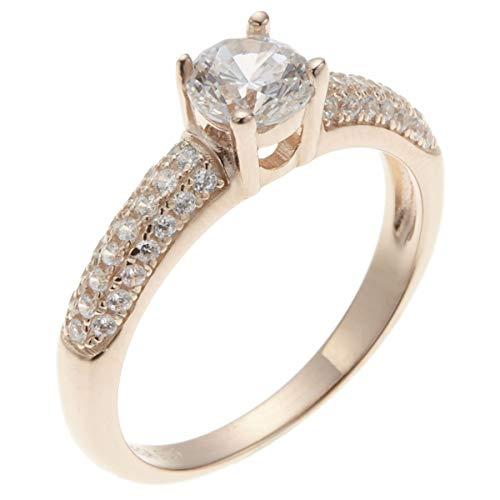 [アクセサリーショップピエナ]キュービックジルコニア シルバー925 1粒 銀製品 CZ 人工ダイヤ 指輪 キラキラ 立体的 キレイ 華やか ゴージャス 気品 カジュアル ALAMEGA アラメガ リング レディース ピンクゴールド 15号