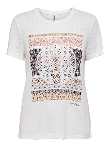 ONLY Damen ONLPIPER REG S/S Print TOP Box JRS T-Shirt, Bright White, XL(42)