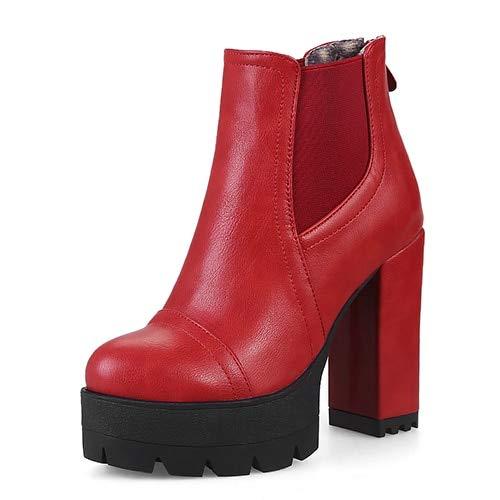 ACWTCHY Fashion Rits Bruin Vrouwen Korte Laarzen Vrouwelijke Casual Schoenen Hoge Hakken Enkellaarzen Platform Hakken