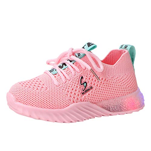 WEXCV Unisex Baby Jungen Mädchen Herbst Winter Leuchtende Einfarbig Schuhe für Kinder Leucht Krabbelschuhe Weben Mesh Freizeitschuhe Outdoor Licht Sneaker 22.5-39
