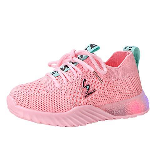 WEXCV Unisex Baby Jungen Mädchen Herbst Winter Leuchtende Einfarbig Schuhe für Kinder Leucht Krabbelschuhe Weben Mesh Freizeitschuhe Outdoor Licht Sneaker 22.5-40