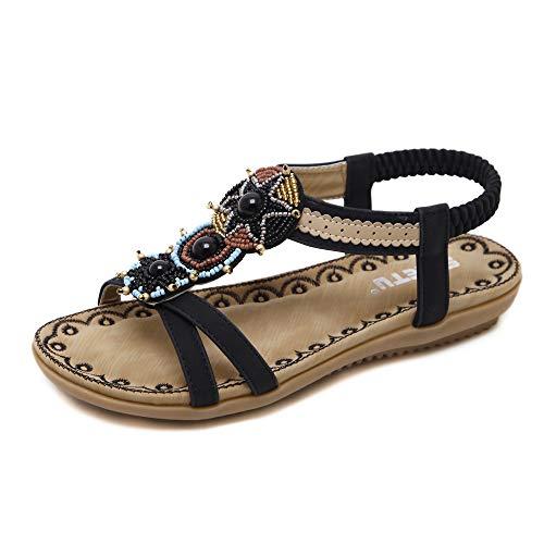 Chickwin Eleganti Estivi Bassi Sandali da Donna, Moda Bohemia PU Cuoio Comfort Sandali da Sposa Spiaggia Comfort Scarpe Ragazze Sexy Casual Piatto Pantofole (EU39=245mm/9.64'',Nero)