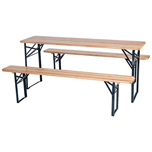 RELAX4LIFE Picnic Beer Table Wooden Outdoor Dining Table Set for Party, Picnic and Camping Foldable and Portable 3PC 70 Inch Picnic Table Set (Brown)