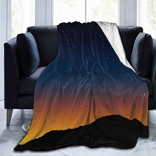 KIMDFACE Manta de Franela Suave,Estrella Noche Knoll Horizon Cielo Estrellas Morning Hill Telescopio Textura Parques Diseño al Aire Libre Vía Láctea,Cama de Camping para sofá 153x127cm