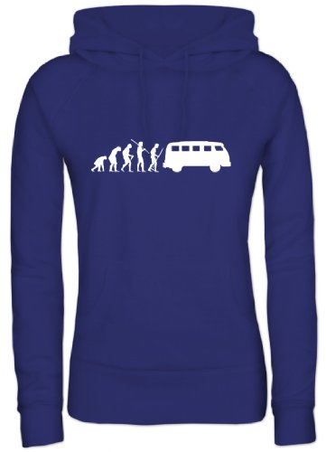 Shirtstreet, Evolution Kult Bus, Damen/Lady Kapuzen Hoodie Pullover, Größe: S,Royal Blau