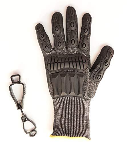 SPEEDSAFE Black N5SP Schutzhandschuh für Profis schützt gegen Schnitt- u. Schlagverletzungen Gratis-Handschuhhalter, Gr. XS – XXXL, schwarz (L)