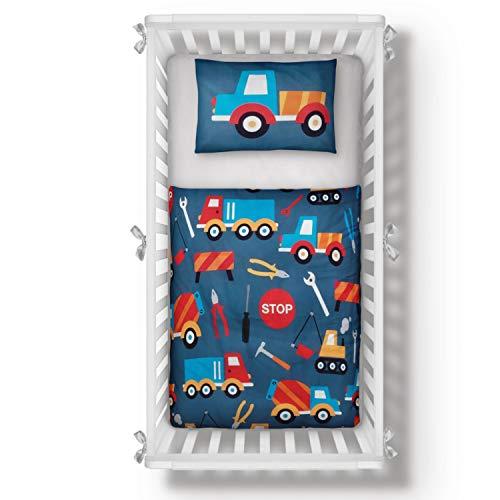 Aminata Kids - Kinderbettwäsche Autos 100-x-135 Jungen Baumwolle mit Reißverschluss - dunkel-blau, rot - Auto-Motiv, BAU-Fahrzeuge, Bagger-Motiv, Kinder-Bettwäsche-Set Baustelle Bauarbeiter