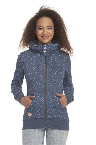 Ragwear 172130029 Chelsea Hearts Zip leicht tailliert, mit Reißverschluss und Flauschiger Kapuze, Lange Ärmel Blau (Indi Mel), EU xs