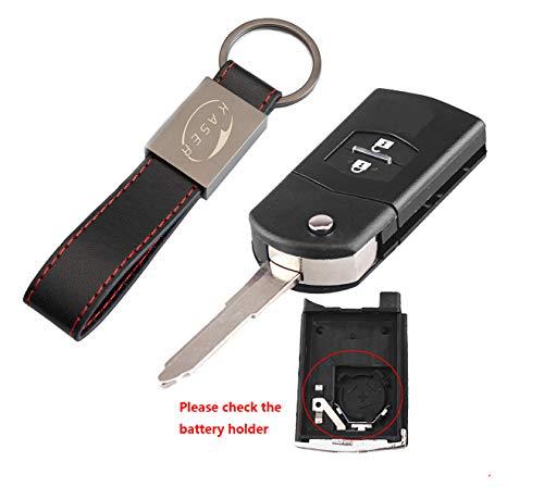 Schlüssel Gehäuse Fernbedienung für Mazda - Autoschlüssel Funkschlüssel 2 Tasten für Mazda 3 5 6 M6 RX8 MX5 CX5 (großer batteriehalter)