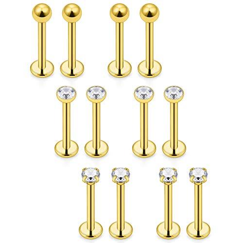 Mayhoop 12er 16G 1.2mm Knorpel Tragus Helix Piercing Chirurgenstahl CZ Kugel Lippenpiercing Labret Stecker 3 Stil 8mm Gold