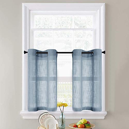 CUTEWIND Kitchen Tiers 36 Inch Length Linen Textured Semi-Sheer Curtain Panels for Bathroom Window Blue Open Weave Tiers Grommet Top Cafe Curtains (1 Pair, Blue, W25×L36 Inches )