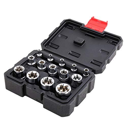 14 unids Socket Set Profesional Llave de trinquete Socket Kit Mecánica Herramienta Set Cromo Auto Reparación Acero Vanadio