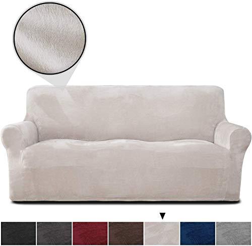 Rose Home Fashion Sofabezug für 3 Sitzer, 1 Stück Elastischer Sofaüberwurf Samt-Optisch, Couch Überzug, Sofa Überzug, Geeignet für Sofa mit Einer Länge von 173-216 cm, Beige