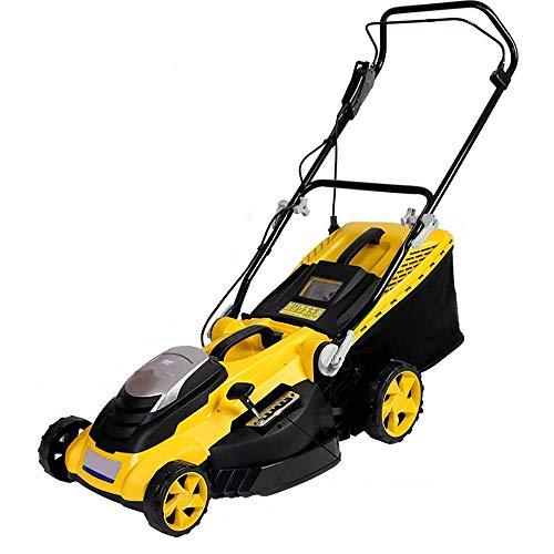 Tondeuse à gazon, tondeuse électrique rotative de 1800 watts, moteur à induction sans balai, largeur de coupe de 42 cm, bac à herbe de 50 litres, 6 leviers de hauteur de coupe, sarclage de jardinerie