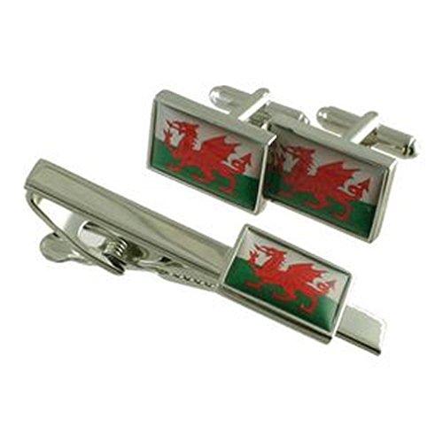 Select Gifts Dragon de Gallois Cufflinks & Wales Tie Bar clip Matching Box Set