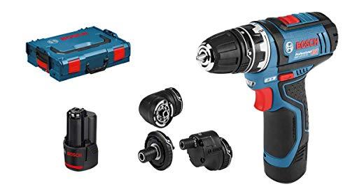 Bosch Professional GSR 12V-15 FC - Atornillador a batería (12V, 30 Nm, 4 cabezales FlexiClick, 2 baterías x 2,0 Ah, en L-BOXX)