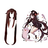 NUWIND Genshin Impact Anime Cosplay peluca Hu Tao doble cola mujeres pelo Halloween partido juego Cosplay accesorios