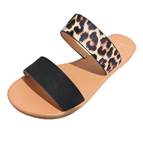 Women Flat Sandals Summer Cute Vintage 2-Strap Roman Leopard Print Open Toe Fashion Shoes Black