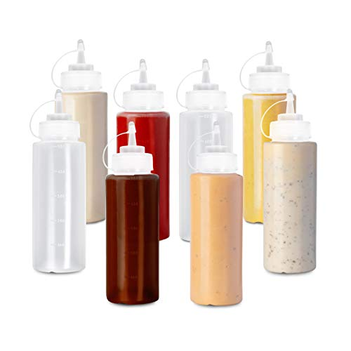 8 (Grande 500ml) Biberon Salsas con Tapas de Rosca| Dispensador de Botellas de Plástico para Condimentos Ketchup Mostaza Vinagre Salsa Aceite| a Prueba de Fugas, Resistente y Sin BPA.