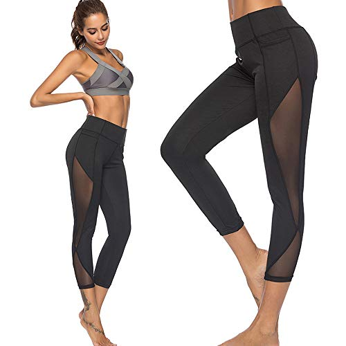 Sanahy Sexy Mesh High Waist Leggings for Women, Buttery Soft Tummy Control Leggings for Yoga, Sports, Gym Workout, Running, Non See Through Pants(Black,M)