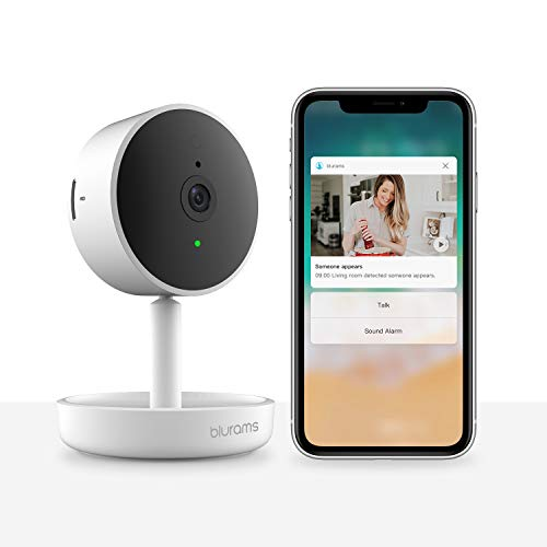 Blurams Home Pro Security Camera 1080p FHD   w/ 2-Way Audio and Siren Alarm, Smart Human/Sound Detection, Person Alerts, Night Vision   Cloud/Local Storage Available   Works with Alexa / Google Assistant