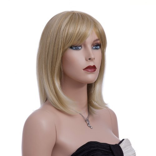 SONGMICS Perücke, glattes und mittellanges Haar, stilvoll, Wig für Karneval, Cosplay und Halloween, weiblich, blond WFY136