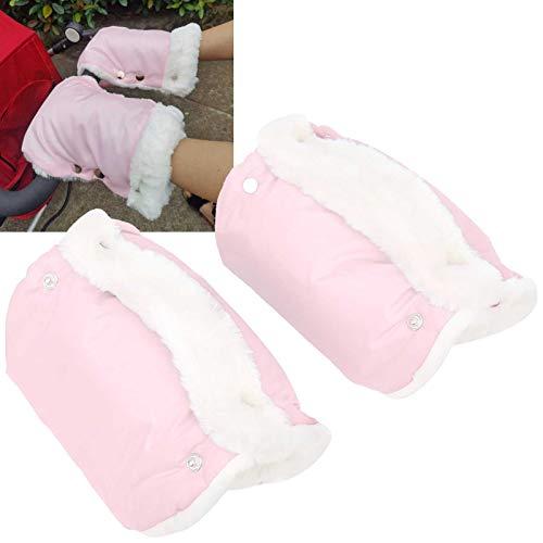 Manguito para cochecito, guantes para cochecito, protector de mano resistente al viento de 2 piezas, grueso para cochecitos de una sola manija(pink)