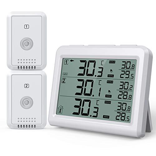Brifit Kühlschrank Thermometer, Gefrierschrank Thermometer mit 2 Sensoren, Kühlschrankthermometer digital mit Alarm, Hintergrundbeleuchtung, MIN/MAX Aufzeichnungen, Ideal für Hause, Restaurants, Bars
