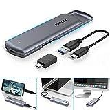 FIDECO M.2 NVME SSD Gehäuse - PCIe USB 3.1, Gen 2, 10Gbps, USB C-Festplattengehäuse Adapter für M-Key oder M+B Key NVME SSD 2230/2242/2260/2280 (Grau Werkzeugfreie Installation)