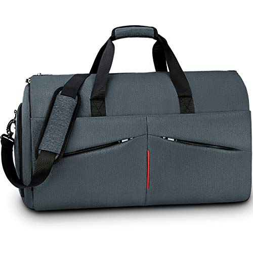 Carry on Garment Bag Convertible Suit Travel Bag with Shoes Compartment Waterproof Large Hanging Garment Duffel Bag Weekender Duffle Bag for Men Women Grey Blue