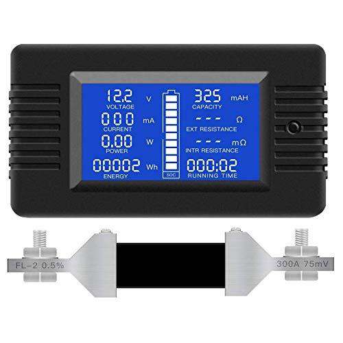 WOVELOT Medidor de BateríA MultifuncióN, 0-200V, 0-300A Pantalla LCD Voltaje de Corriente Digital Medidor de EnergíA Solar MultíMetro AmperíMetro VoltíMetro