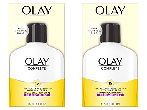 Face Moisturizer by Olay Complete Lotion All Day Face Moisturizer for Combination/Oily Skin with SPF 15, 6 Fl Oz (Pack of 2)