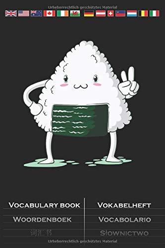 Onigiri zeigt Peace Zeichen Vokabelheft: Vokabelbuch mit 2 Spalten für Feinschmecker und Fans der asiatischen Küche