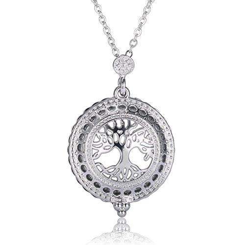 Sissi Dames Halsketting Vergrootglas Zilveren Levensboom Hanger Spiegel Hanger Retro Lange Ketting 58 + 5cm Karabijnsluiting