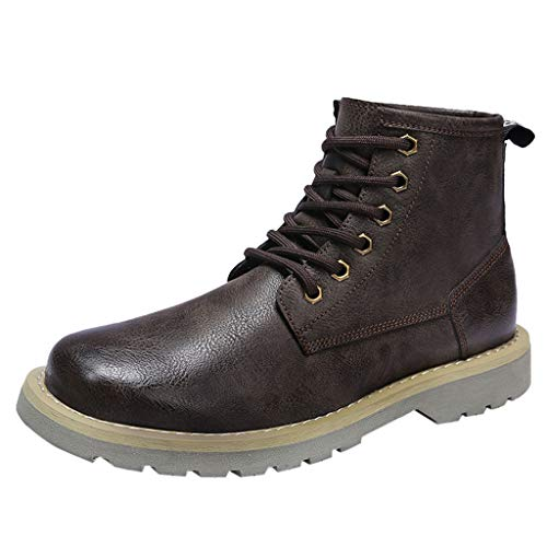 New Men's Chukka Boot Lace-Up High Top Leather Cowboy Boots Ankle Casual Comfortable Ankle Chukka Sh...