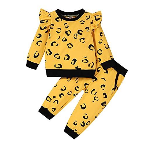 Kleinkind Mädchen Drucken Fliegender Ärmel Spleißen Oberteile Leopard Print Hose Zweiteiliger Anzug für Kinder 6 Monate-4 Jahre(Gold,12-18 Monate)