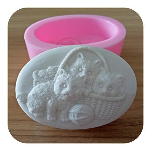 Fabricación de jabón Molde de molde de jabón de diseño de tres gatos Moldes de silicona ovalada 3D para fabricación de jabón-,