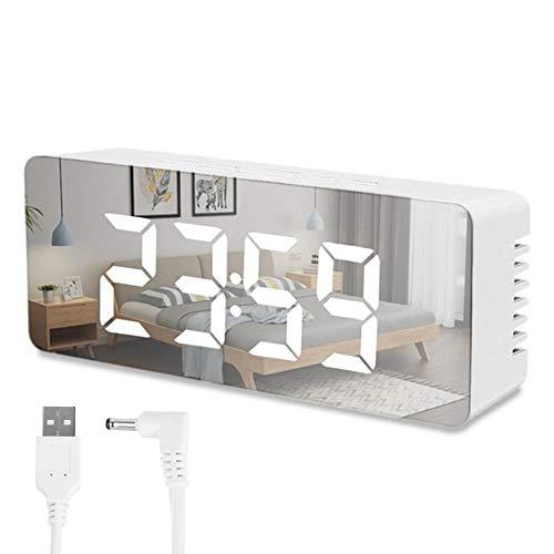 JTWEB Digitaler Wecker mit Spiegel mit weißem LED-Display, einstellbare Helligkeit, moderner Alarm, Stromversorgung über USB und Batterie, funktioniert mit Batterien für Schlafzimmer, Büro