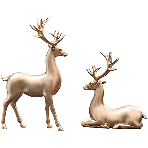 ZLASS Figurka zwierzęca, żywica renifer statuetki ozdoby, ręcznie rzeźbione pary łoś rzeźby ze stabilną podstawą, używane do salonu biblioteczki dekoracja biurka, zestaw 2