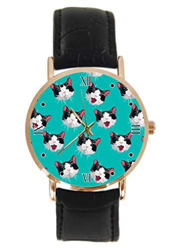 Reloj de Pulsera para Gato Blanco y Negro, clásico, Unisex, analógico, de Cuarzo, con Caja de...