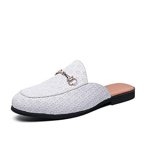 NUGKPRT chanclas,Medias Zapatos para Hombre Zapatos de Cuero Blancos Hombre Moda Casual Zapatillas Deslizantes Zapatos Casuales 44 Blanco