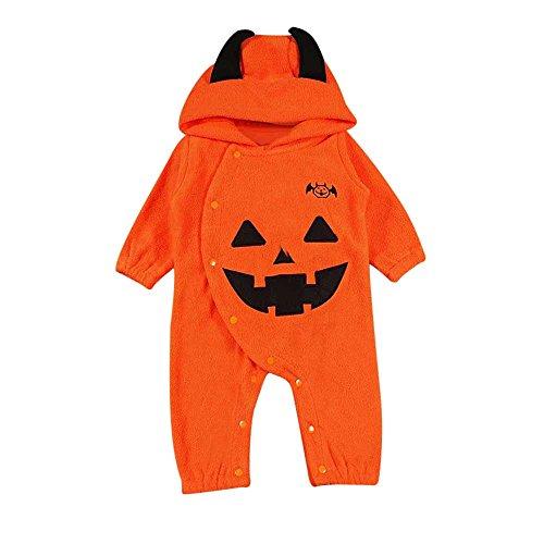 Disfraz Halloween Bebe niña niño Calabaza Monos con Capucha y Manga Larga