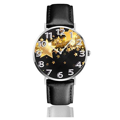 Reloj de Pulsera Fondo de Estrella Negro y Dorado Correa de Cuero sintético Duradero Relojes de Negocios de Cuarzo Reloj de Pulsera Informal Unisex