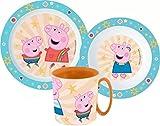 Kinder-Geschirr Set mit Teller, Müslischale & Tasse   Jungen & Mädchen Geschirrset (Peppa Pig)