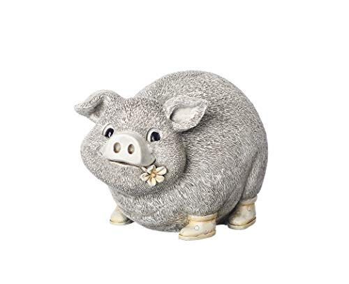 Roman Garden - Pig in Rain Boots Statue, 6H, Pudgy Pals Collection, Resin and Dolomite, Decorative, Garden Gift, Home Outdoor Decor, Durable, Long Lasting