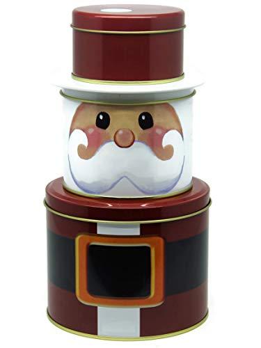 Bada Bing Juego de 3metal latón para galletas Bote para galletas (Estrella Bote redondo de Navidad Trend
