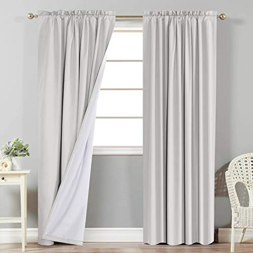 Flamingo P 100% Blackout Curtains Window Treatment Curtain with White Backing Thermal Insulated Rod Pocket Curtains for Living Room 2 Tie-Backs (2 Panels 52 x 84 Inch, Natural)