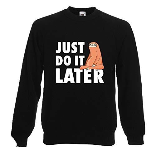 Shirt-Panda Herren Fun Sweatshirt · Just do it Later · Faultier sitzend Sweater · Männer Chillen Sloth Pullover · 80% Baumwolle · Spaß Fun Pulli · Lässig · Schwarz (Druck Weiß) L