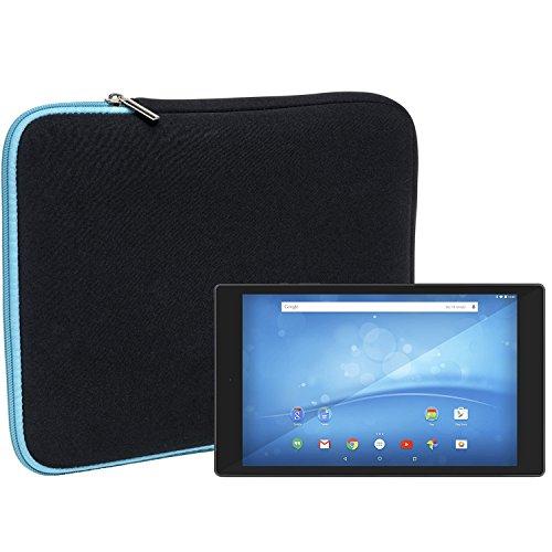 Slabo Tablet Tasche Schutzhülle für TrekStor SurfTab wintron 10.1 Pure/TrekStor SurfTab Breeze 9.6 Quad Hülle Etui Hülle Phablet aus Neopren – TÜRKIS/SCHWARZ